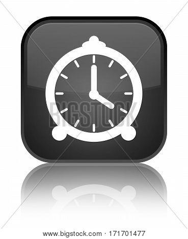 Alarm Clock Icon Shiny Black Square Button