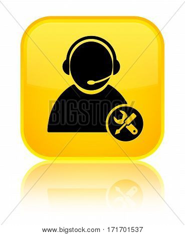 Tech Support Icon Shiny Yellow Square Button