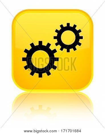 Process Icon Shiny Yellow Square Button