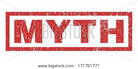 Myth text rubber seal stamp watermark. Tag inside rectangular banner with grunge design and unclean texture. Horizontal vector red ink sign on a white background.
