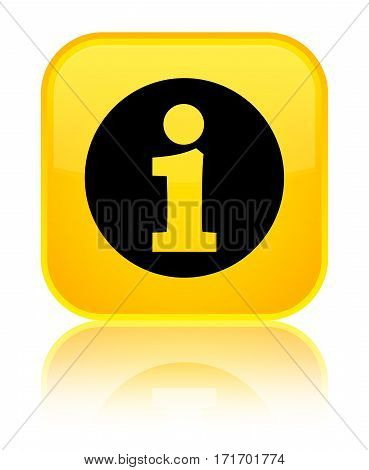 Info Icon Shiny Yellow Square Button