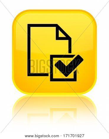 Checklist Icon Shiny Yellow Square Button