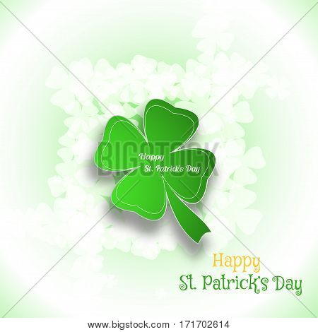 Vector Happy St. Patrick's Day poster on the gradient white and green background with text and clover leaves arranged in center.