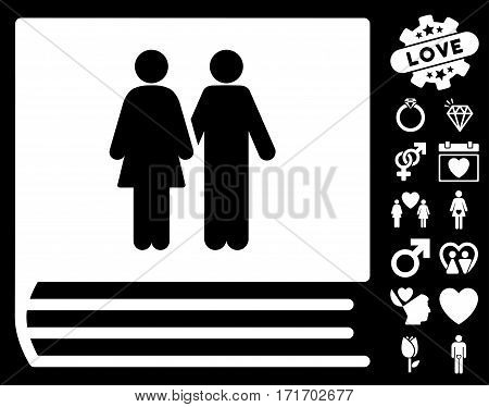 Family Album pictograph with bonus decorative pictures. Vector illustration style is flat iconic white symbols on black background.