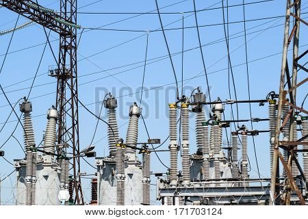 Electric Substation. Power Transmission Equipment. Stobo, Wires And Insulators.