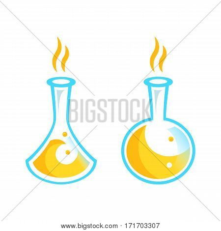 illustration of laboratory apparatus with colorful solution