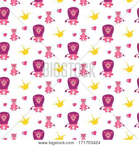 Cute lion and lioness seamless vector pattern. Cartoon pink wild safari animals and crown on white background for kid textile prints and apparel.
