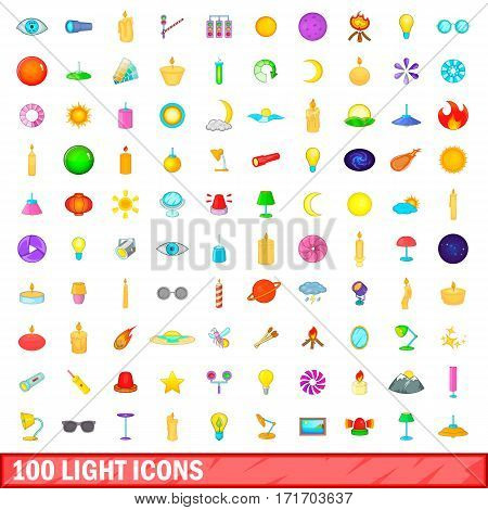 100 light icons set in cartoon style for any design vector illustration