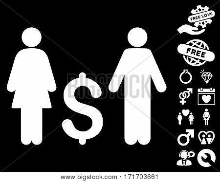 Family Dollar icon with bonus decoration clip art. Vector illustration style is flat iconic white symbols on black background.
