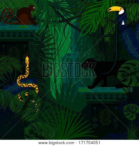 Rainforest wild animals and plants vector background. Panther, snake and monkey in the dark jungles.