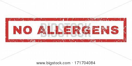 No Allergens text rubber seal stamp watermark. Tag inside rectangular banner with grunge design and scratched texture. Horizontal vector red ink sticker on a white background.