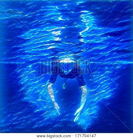 Snorkel swimming in sea digital illustration. Neon lights in water. Underwater snorkeling square image for print or banner template. Blue abstract background with girl in snorkeling mask