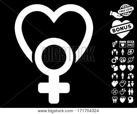 Female Love pictograph with bonus love pictograms. Vector illustration style is flat iconic white symbols on black background.