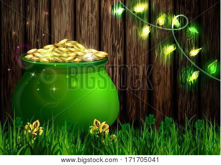 St. Patrick s Day symbol green pot full of gold coins and patio lights Vector illustration