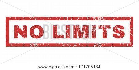 No Limits text rubber seal stamp watermark. Tag inside rectangular banner with grunge design and scratched texture. Horizontal vector red ink emblem on a white background.