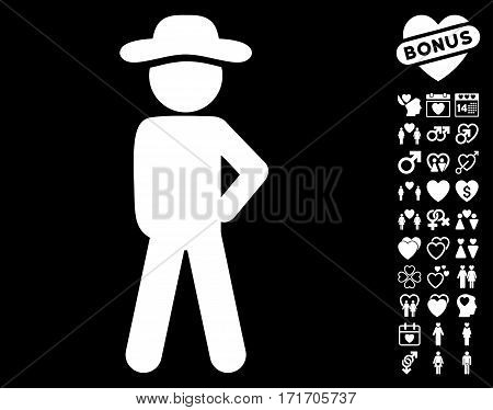 Gentleman Audacity icon with bonus decorative symbols. Vector illustration style is flat iconic white symbols on black background.
