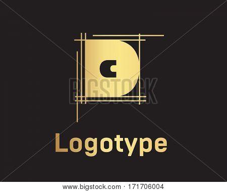 Beautiful vector graphic gold alphabet letter D symbol