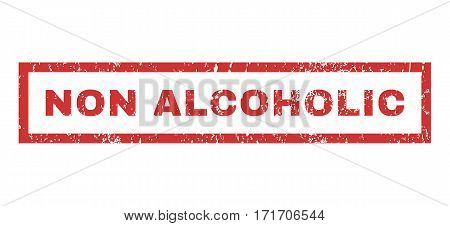 Non Alcoholic text rubber seal stamp watermark. Tag inside rectangular banner with grunge design and scratched texture. Horizontal vector red ink sticker on a white background.