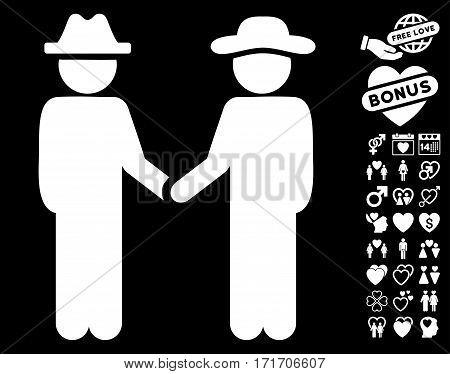 Gentleman Handshake pictograph with bonus passion graphic icons. Vector illustration style is flat iconic white symbols on black background.