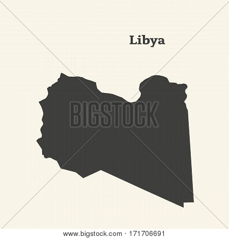 Outline map of Libya. Isolated vector illustration.