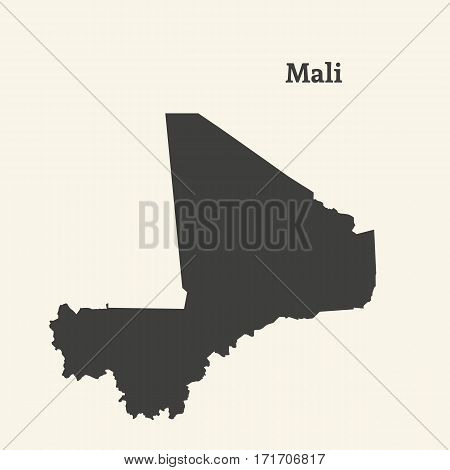 Outline map of Mali. Isolated vector illustration.