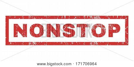 Nonstop text rubber seal stamp watermark. Caption inside rectangular banner with grunge design and scratched texture. Horizontal vector red ink sign on a white background.