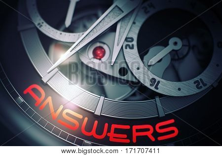 Luxury Men Wrist Watch with Answers Inscription on Face. Answers on Luxury Wristwatch Detail, Chronograph Up Close. Time Concept with Glow Effect and Lens Flare. 3D Rendering.