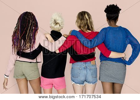 People Girlfriends Friendship Huddle Rear View Togetherness