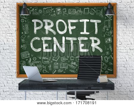 Green Chalkboard with the Text Profit Center Hangs on the White Brick Wall in the Interior of a Modern Office. Illustration with Doodle Style Elements. 3D.