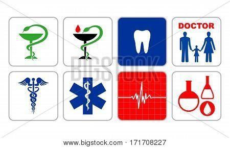 Set of symbols denoting medicine in vector