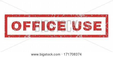 Office Use text rubber seal stamp watermark. Tag inside rectangular shape with grunge design and unclean texture. Horizontal vector red ink emblem on a white background.