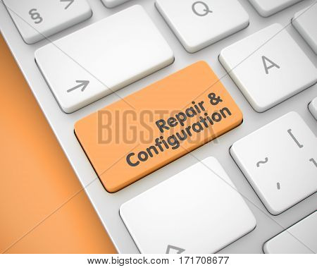 Business Concept: Repair And Configuration on the Modern Keyboard lying on Orange Background. Service Concept. Orange Key on Slim Aluminum Keyboard. 3D.