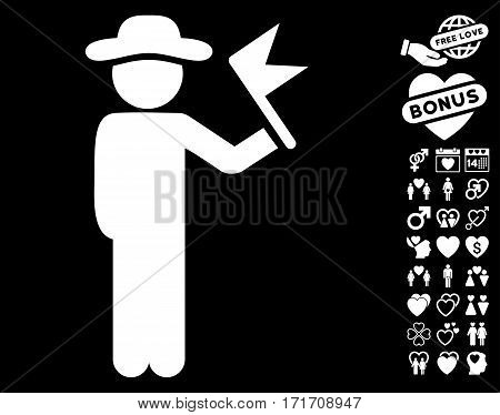 Gentleman With Flag icon with bonus lovely clip art. Vector illustration style is flat iconic white symbols on black background.