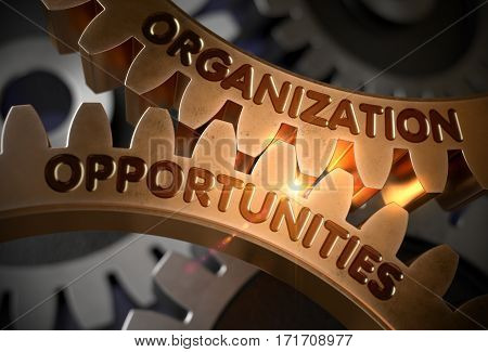 Organization Opportunities on Mechanism of Golden Cogwheels. Organization Opportunities Golden Gears. 3D Rendering.