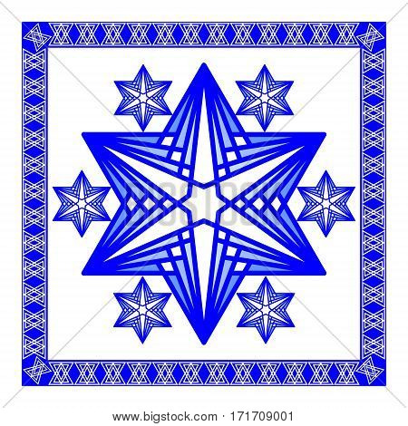Star of David decoration tile. Composed of simply shapes in blue and white modern design, eps10 vector. Religious motif line design in israel national colors.