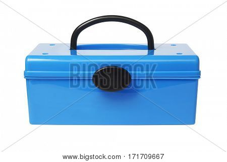 Blue Plastic Handy Box on White Background