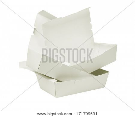 Stack of Open Takeaway Boxes on White Background