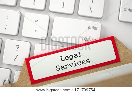 Legal Services. Red File Card on Background of White PC Keyboard. Archive Concept. Close Up View. Selective Focus. 3D Rendering.
