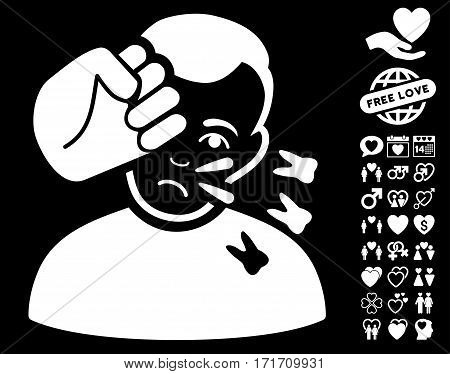 Head Strike pictograph with bonus passion pictures. Vector illustration style is flat iconic white symbols on black background.