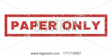 Paper Only text rubber seal stamp watermark. Tag inside rectangular shape with grunge design and unclean texture. Horizontal vector red ink sign on a white background.