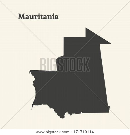 Outline map of Mauritania. Isolated vector illustration.