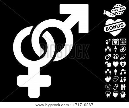Heterosexual Symbol pictograph with bonus marriage symbols. Vector illustration style is flat iconic white symbols on black background.