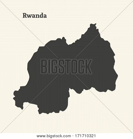 Outline map of Rwanda. Isolated vector illustration.