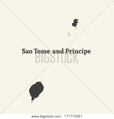 Outline map of Sao Tome and Principe. Isolated vector illustration.