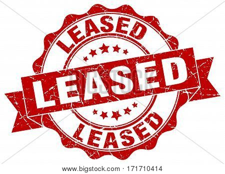 leased. stamp. sign. seal. round. retro. ribbon