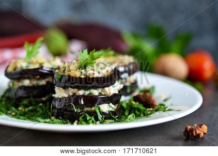 Appetizer of eggplant and nut sauce cilantro and garlic