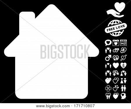 House icon with bonus passion images. Vector illustration style is flat iconic white symbols on black background.