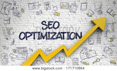 White Brickwall with SEO Optimization Inscription and Orange Arrow. Increase Concept. SEO Optimization Drawn on White Wall. Illustration with Doodle Icons.
