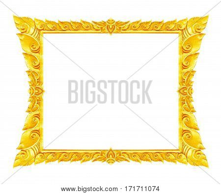 old decorative gold frame - handmade engraved - isolated on white background