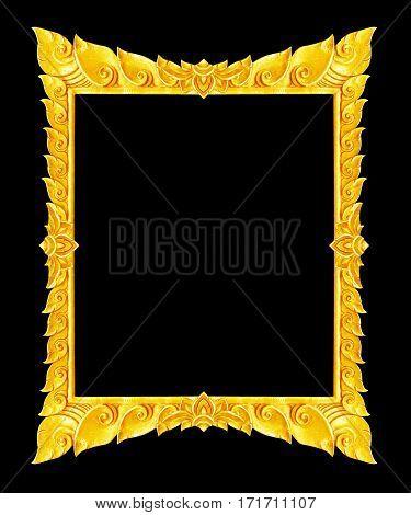 old decorative gold frame - handmade engraved - isolated on black background